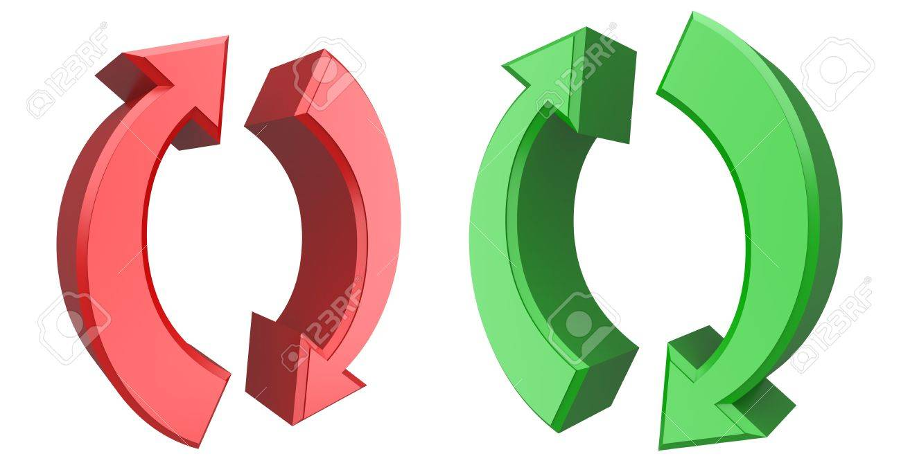 Conceptual 3d image of rotating arrows Stock Photo - 11490159