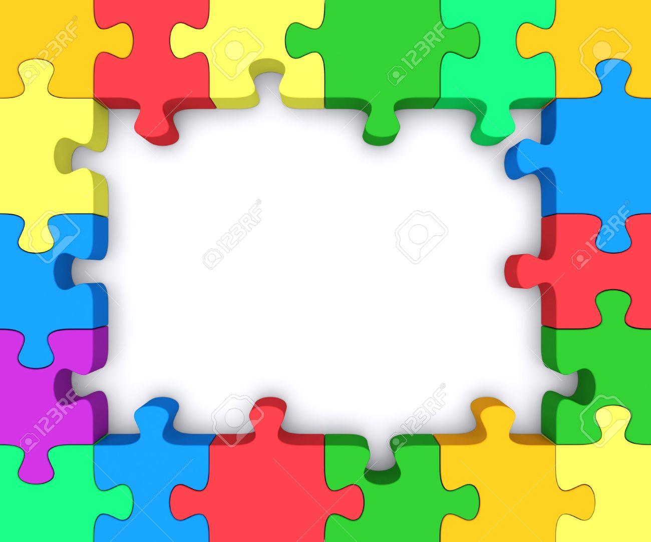 Schöne Rahmen Aus? Aus Stücken Von Farbigen Puzzles. Lizenzfreie ...