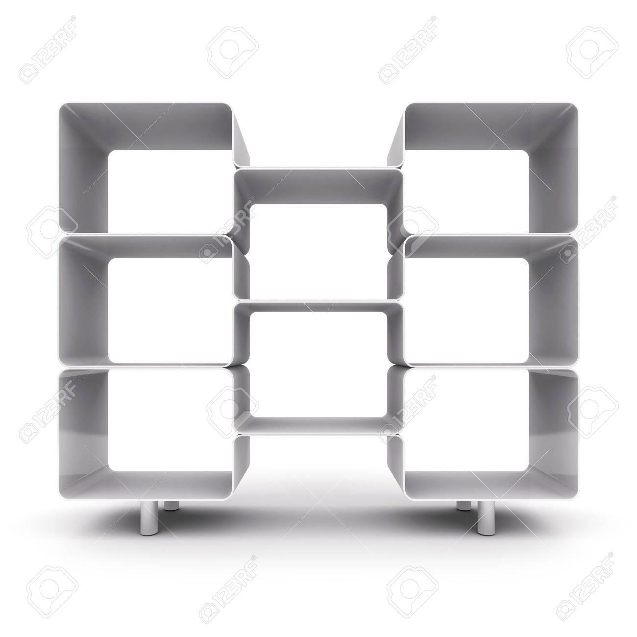 Realistic 3d illustration of modern wooden bookshelf against ston - Three Shelves Empty Shelves For Your Content 3d Illustration