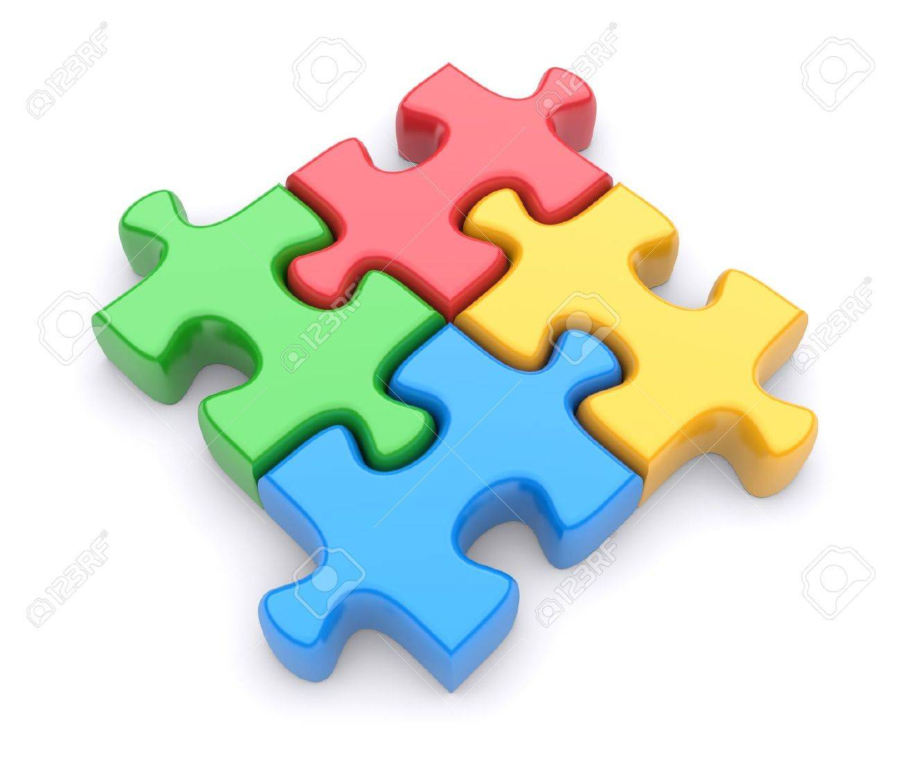 Jigsaw Puzzle On A White Background 3d Image Stock Photo