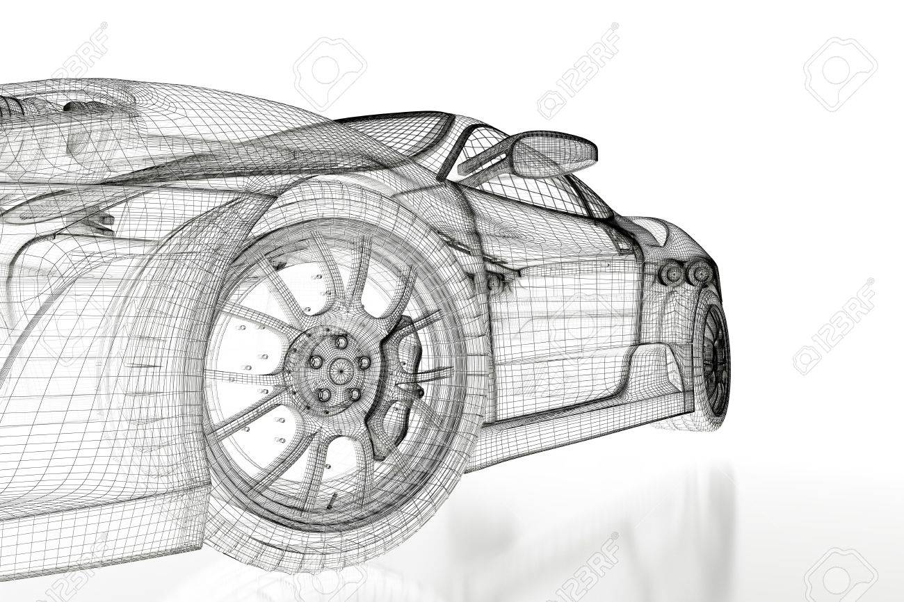 Sport car model on a white background. 3d rendered image Stock Photo - 11850401