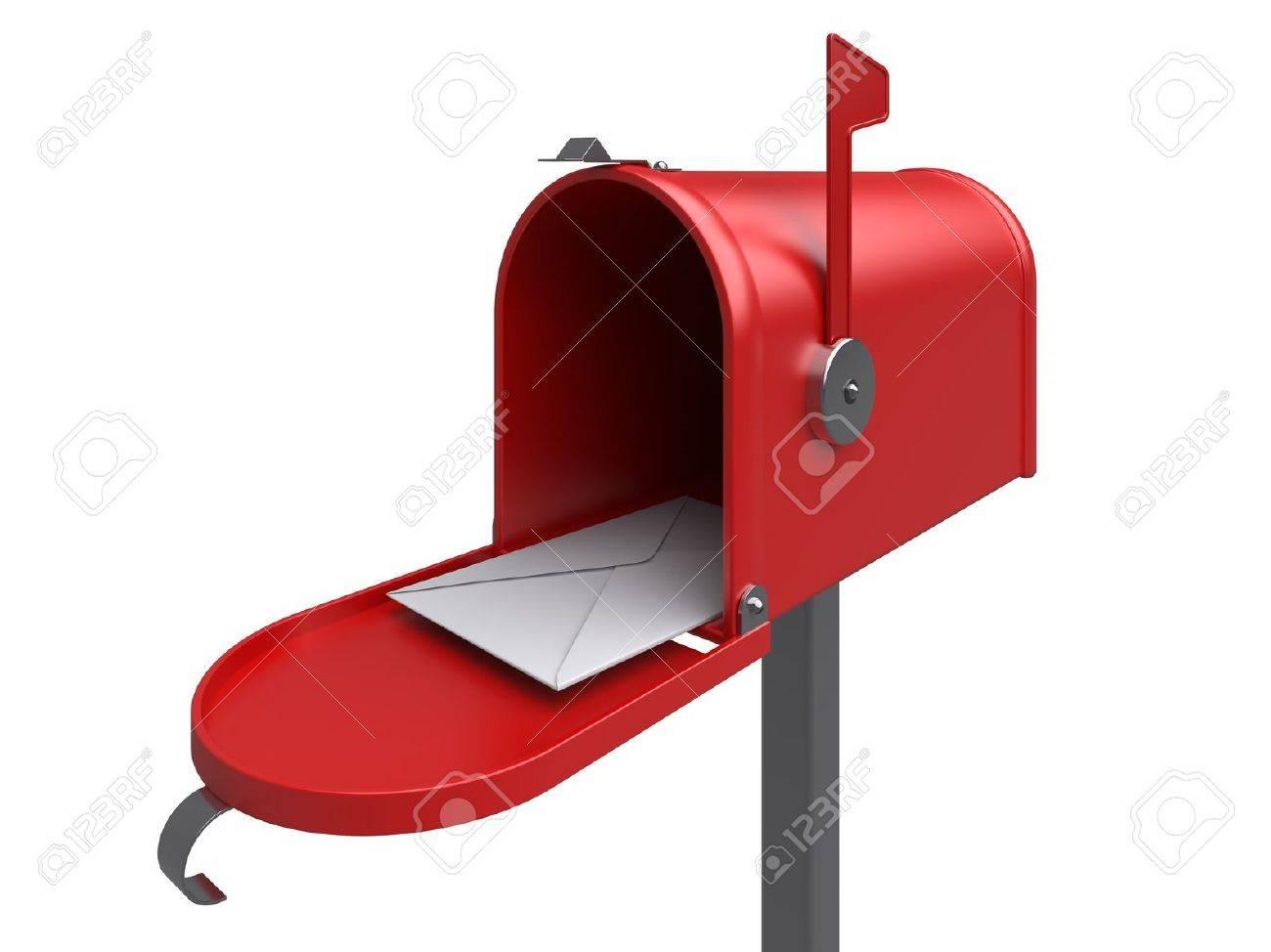Boite Aux Lettres Rouge Avec La Lettre Sur Une Image Blanche Rendu