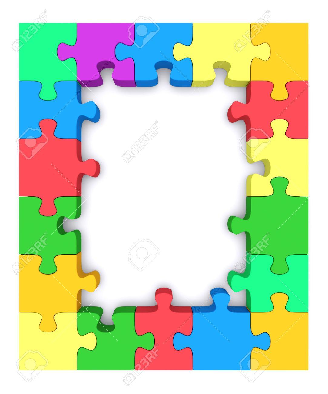 Schöne Rahmen Aus Stücken Von Farbigen Puzzle 3d Gerenderten Bild ...