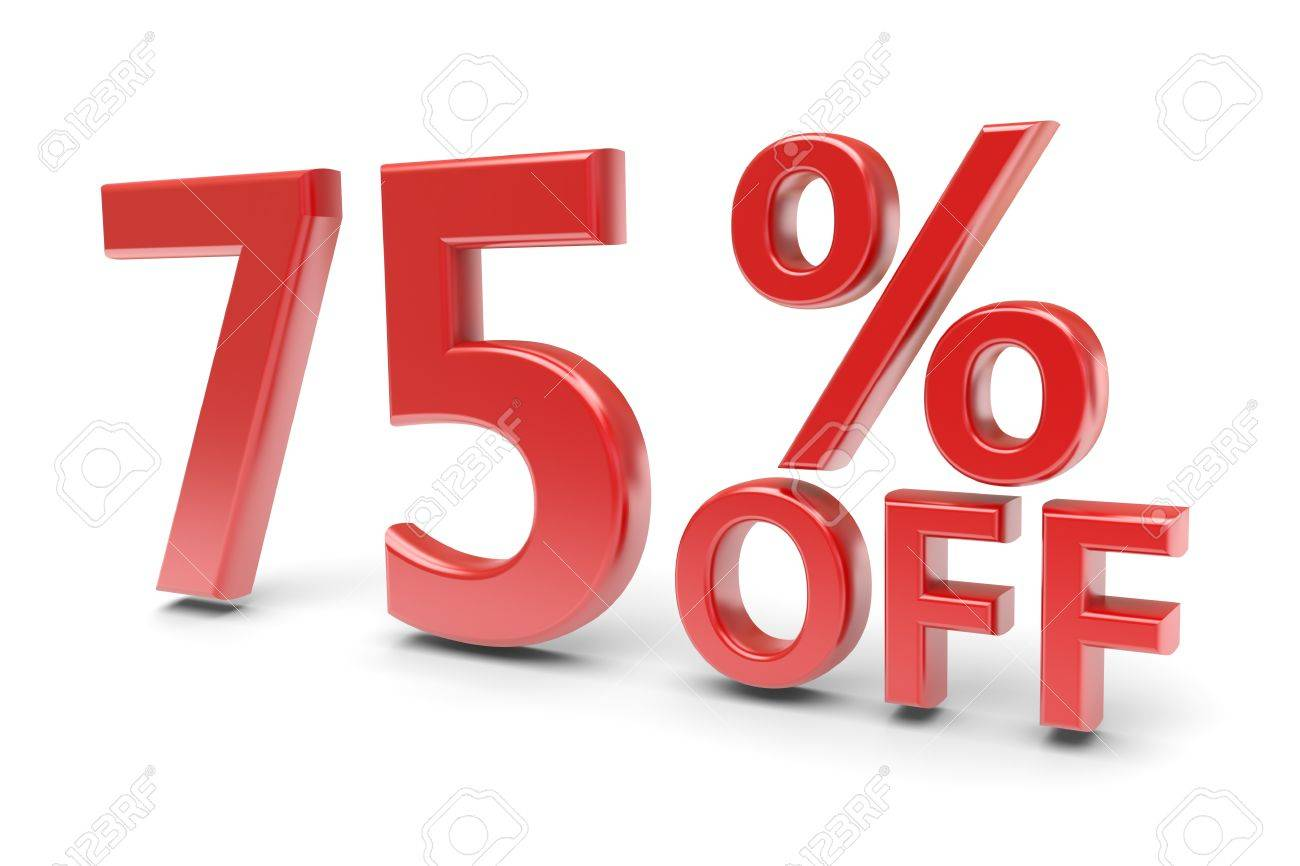 75 percent sale discount  3d image Stock Photo - 13330355