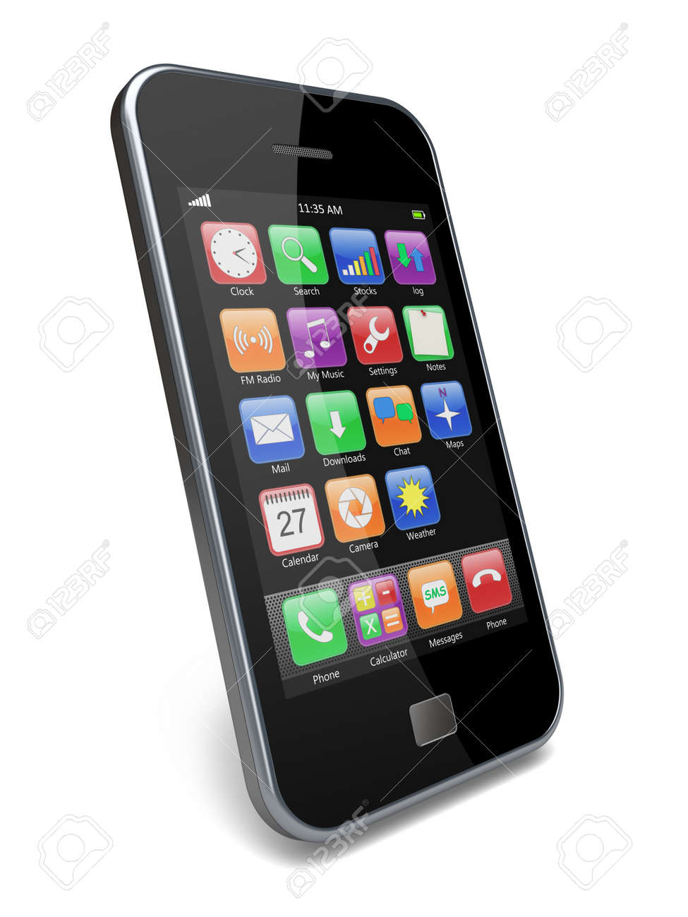 Mobile smartphone with touchscreen and colorful apps 3d image - 13429092