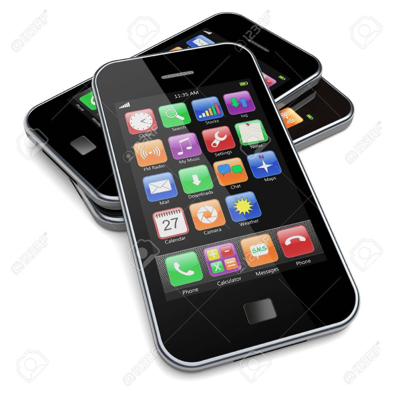 Mobile phones with touchscreen and colorful apps   3d image Stock Photo - 13510602