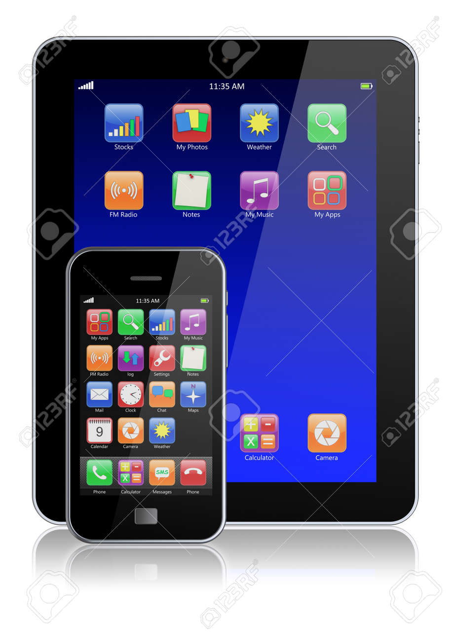 Mobile smartphone and tablet PC with touchscreen and colorful apps   Isolated on a white  3d image Stock Photo - 13728414
