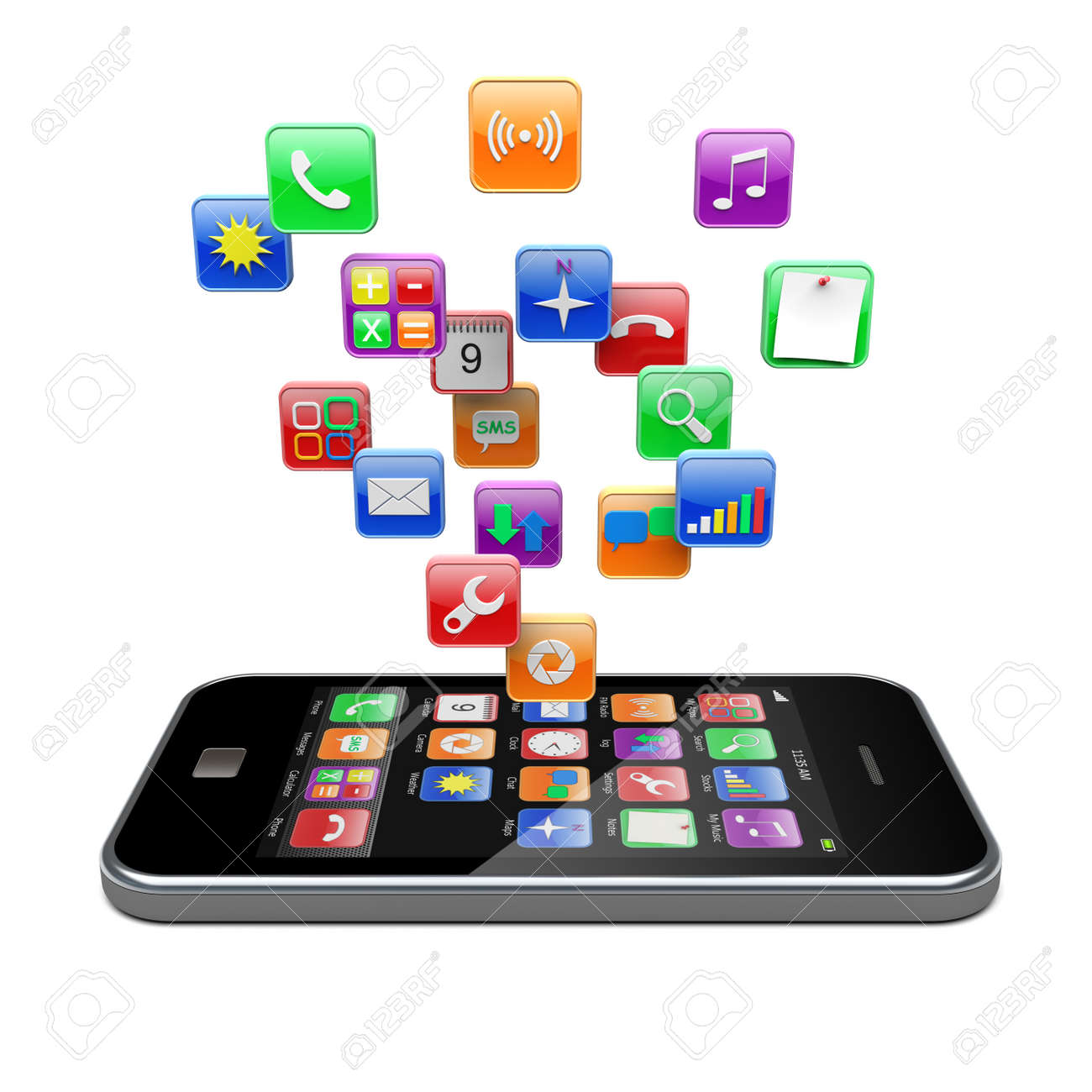 mobile phone with software apps icons 3d image stock photo, picture