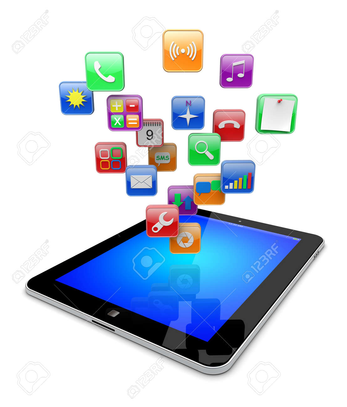 tablet pc computer with software apps icons media technology