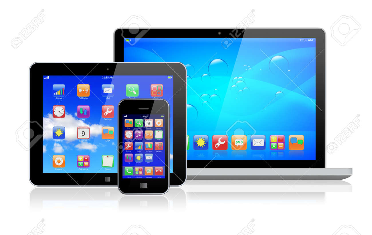 Laptop, tablet pc computer and mobile smartphone with a blue background and colorful apps on a screen  Isolated on a white  3d image Stock Photo - 17105275