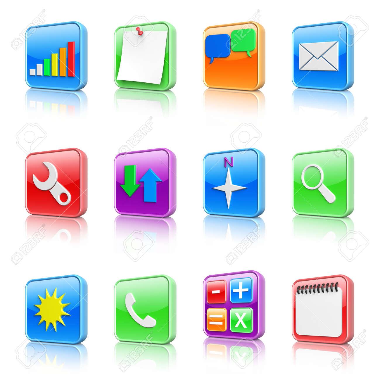 3d colorés icônes apps mis en banque d'images et photos libres de