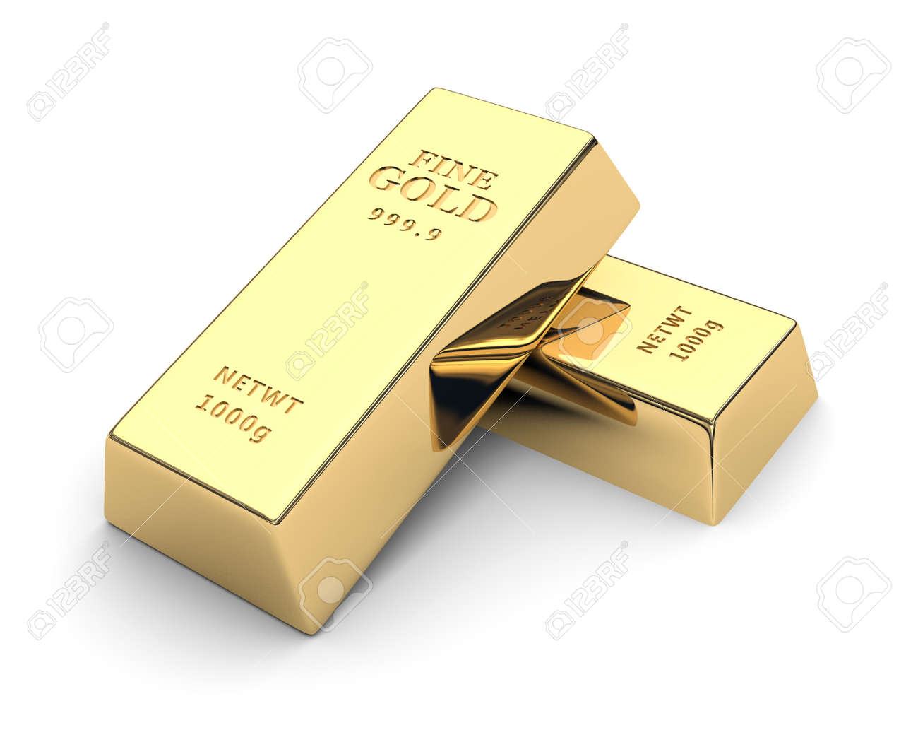 Shiny gold bars isolated on a white   3d image Stock Photo - 17742526