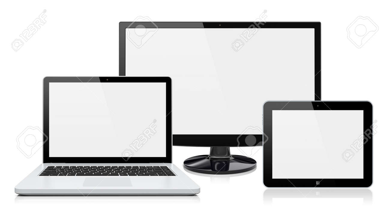 Computer monitor, laptop and tablet pc with a blank screen  Isolated on a white  3d image Stock Photo - 17989916