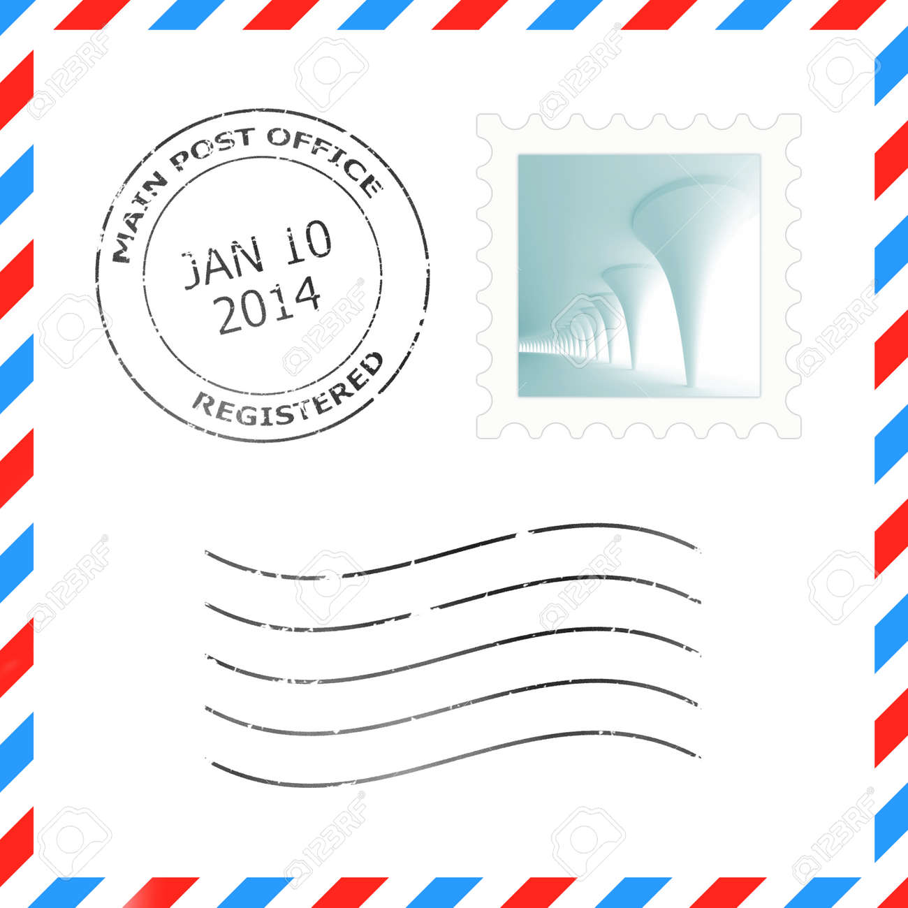 Postage Stamp And Postmark For A Letter Envelope Illustrations Stock