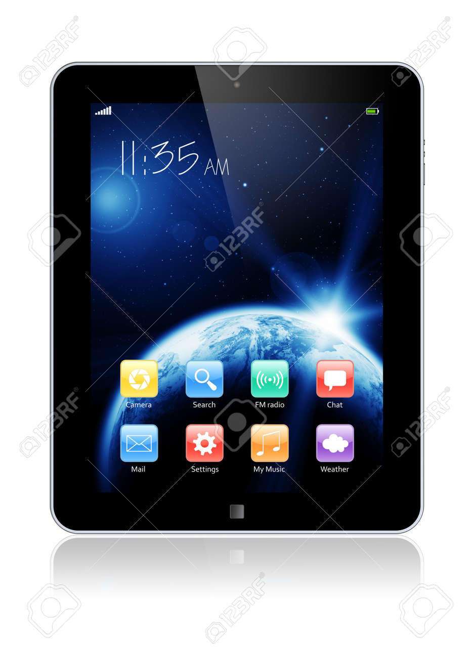 Abstract tablet PC with space dawn wallpaper and colorful apps