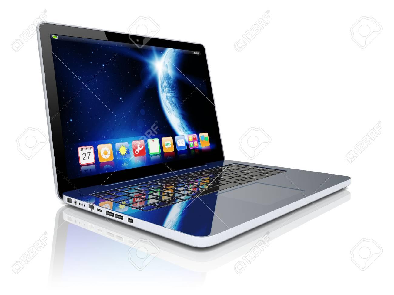 Laptop Mit Platz Dammerung Tapeten Und Anwendungen Auf Einem Bildschirm Lizenzfreie Fotos Bilder Und Stock Fotografie Image 35263187