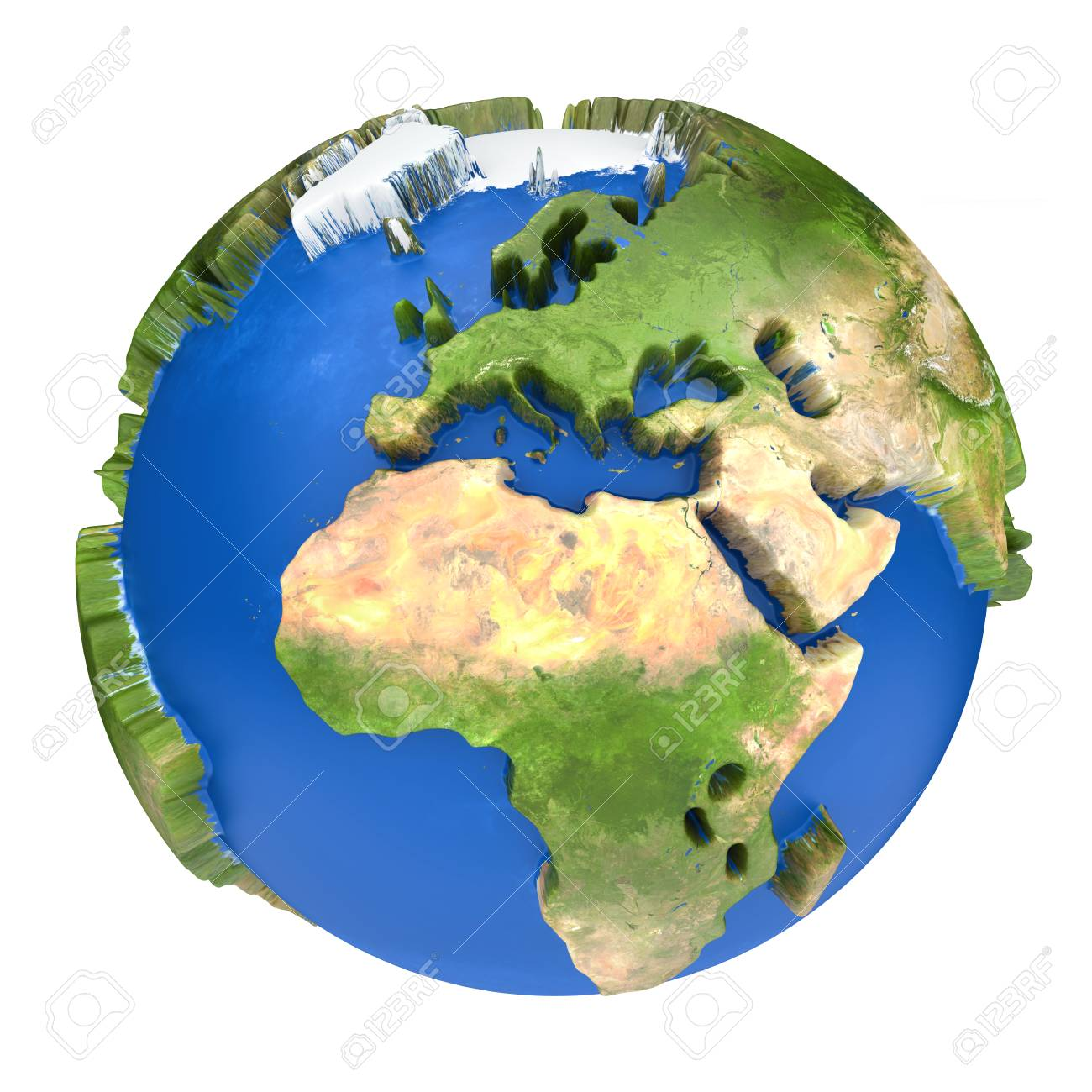 Earth World Map Africa And Europe On A Planet Globe 3d Concept