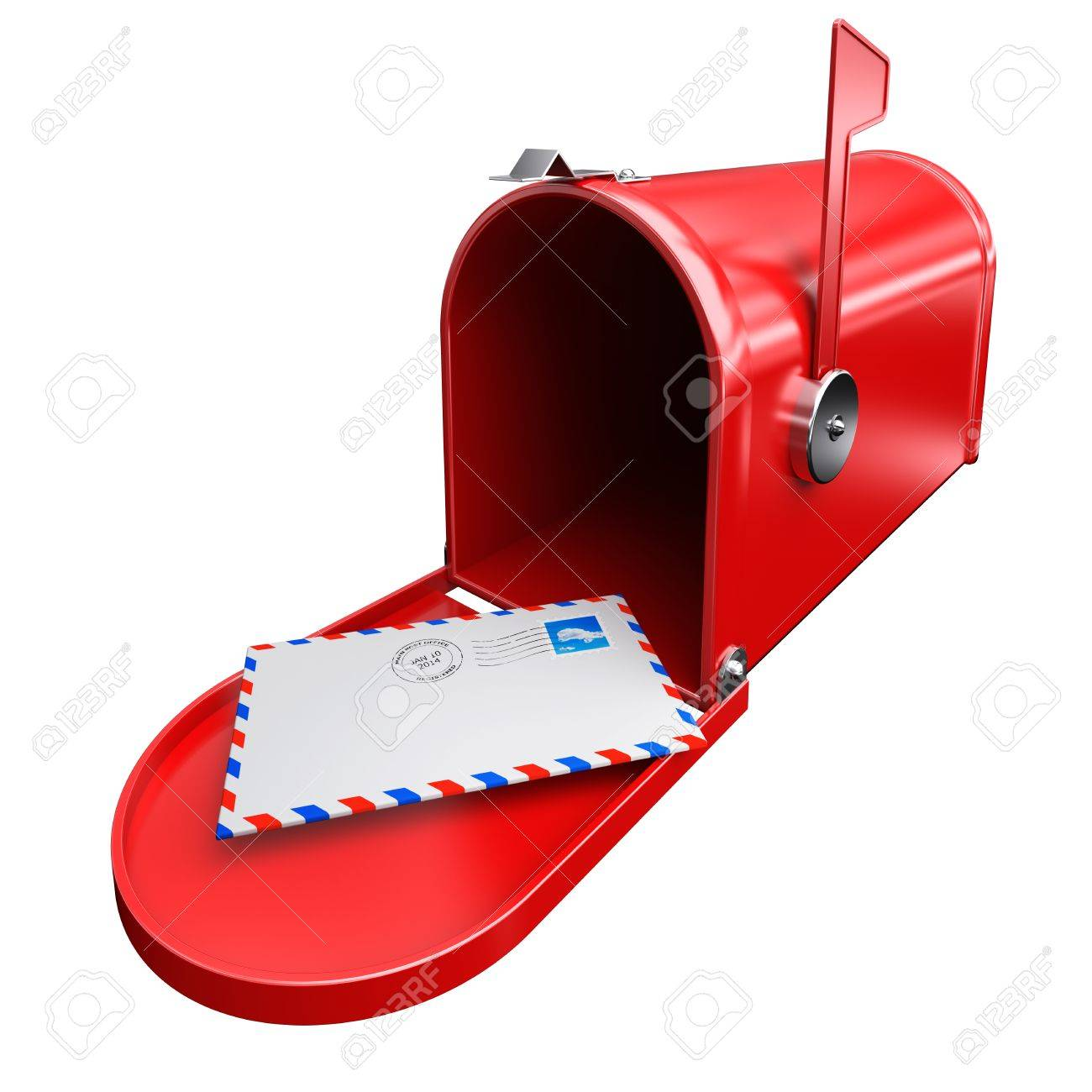 Red Mailbox And A Letter Envelope Mail Inbox Correspondence With ...