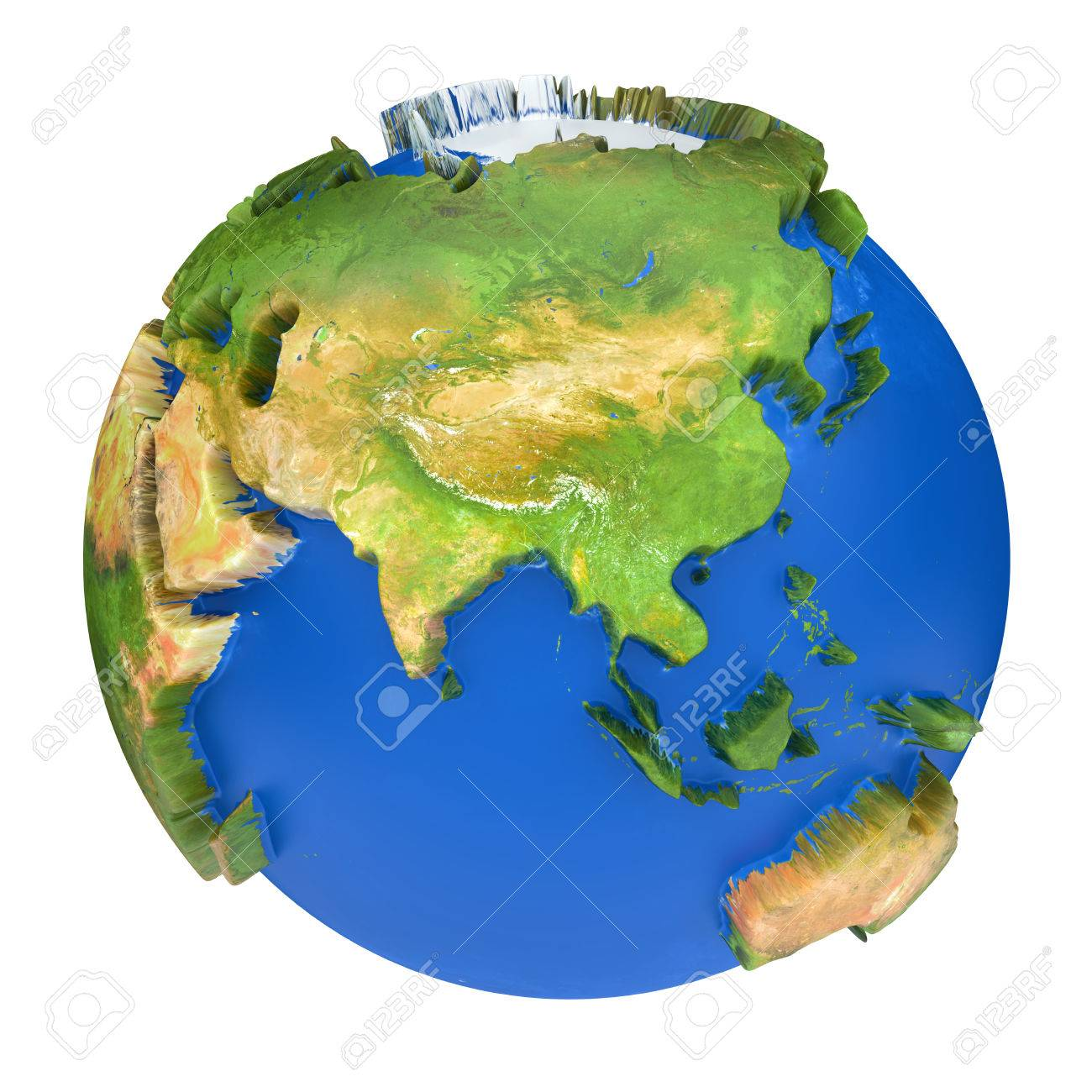 Earth World Map Australia And Asia On A Planet Globe 3d Concept