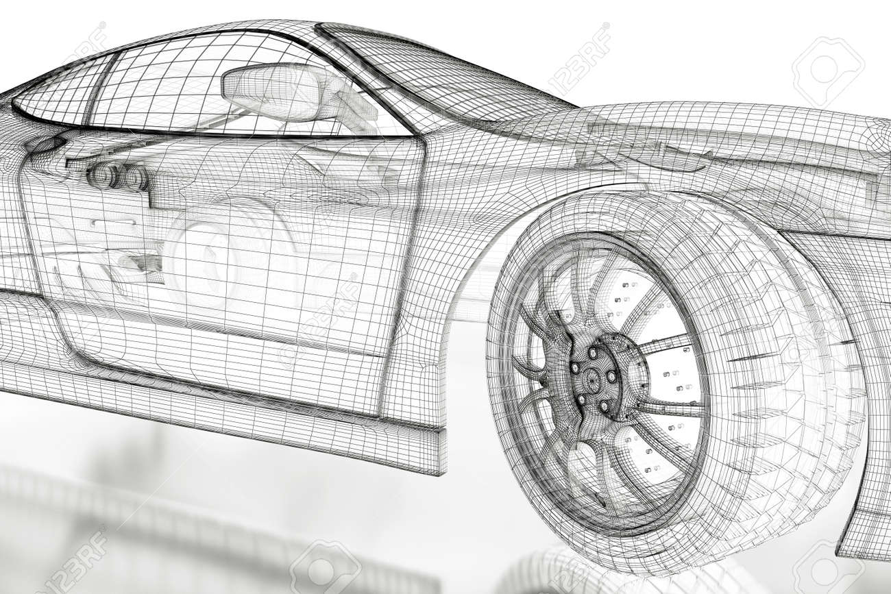 Car vehicle 3d blueprint model on a white background 3d rendered car vehicle 3d blueprint model on a white background 3d rendered image stock photo malvernweather Image collections