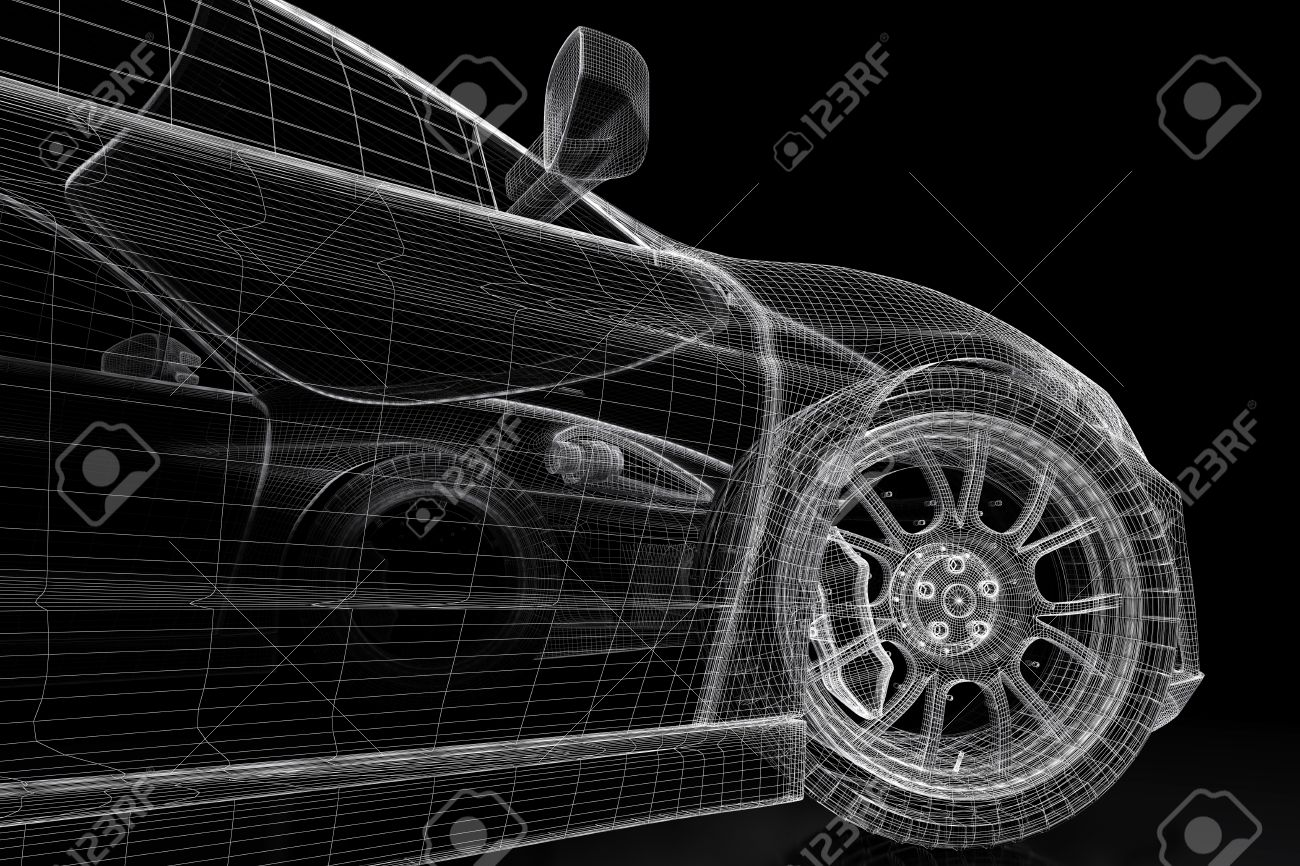 Car Vehicle 3d Blueprint Model On A Black Background. 3d Rendered ...