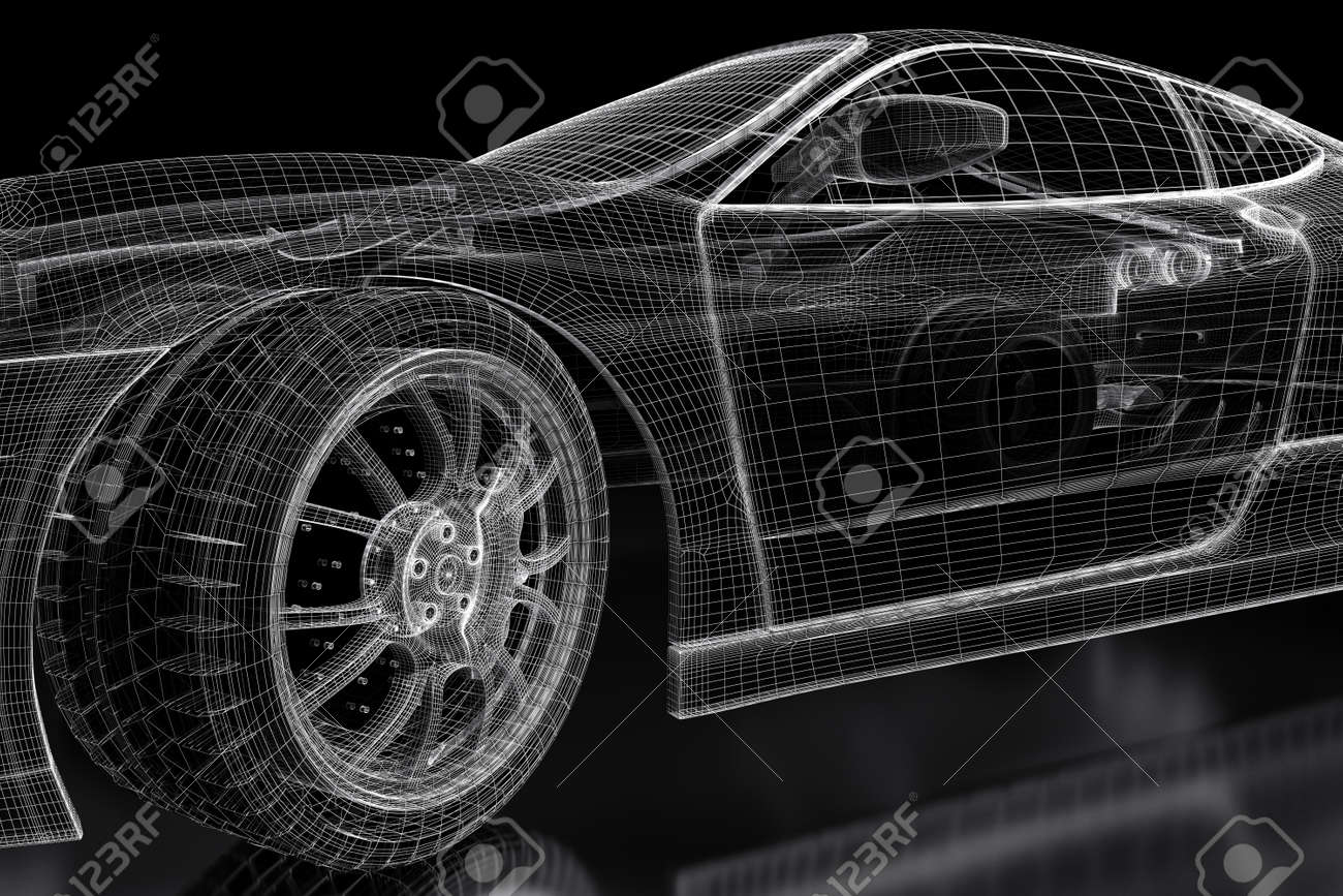 Car vehicle 3d blueprint model on a black background 3d rendered car vehicle 3d blueprint model on a black background 3d rendered image stock photo malvernweather Image collections