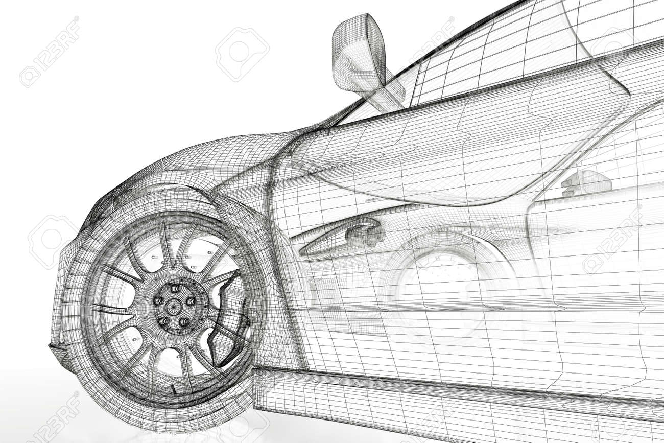 Car Vehicle 3d Blueprint Model On A White Background. 3d Rendered ...