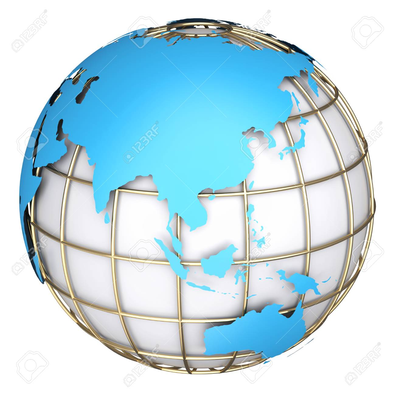 earth world mapaustralia and asia on a planet globe 3d illustration stock illustration