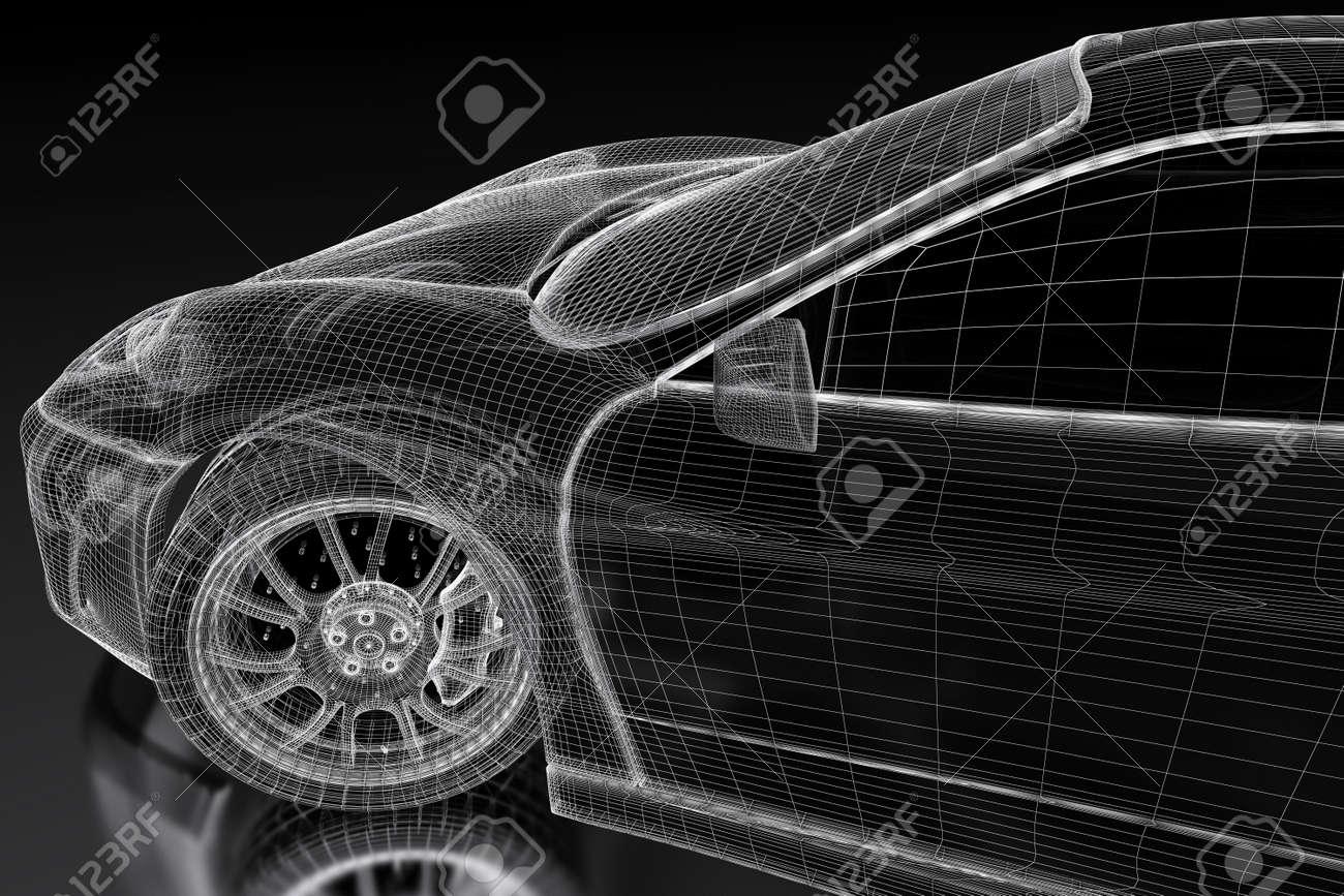 Car Vehicle 3d Blueprint Mesh Model On A Black Background. 3d ...