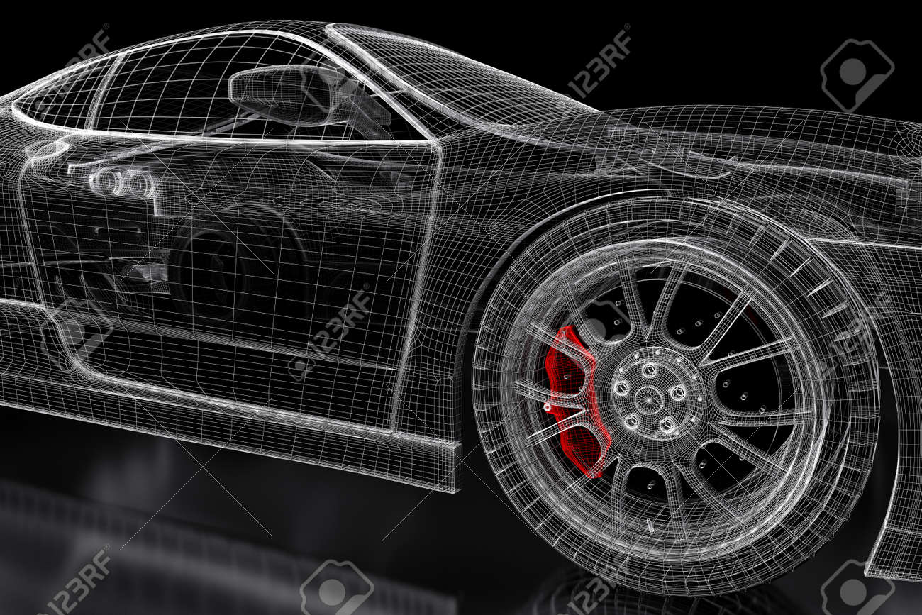 Car Vehicle 3d Blueprint Mesh Model With A Red Brake Caliper.. Stock ...