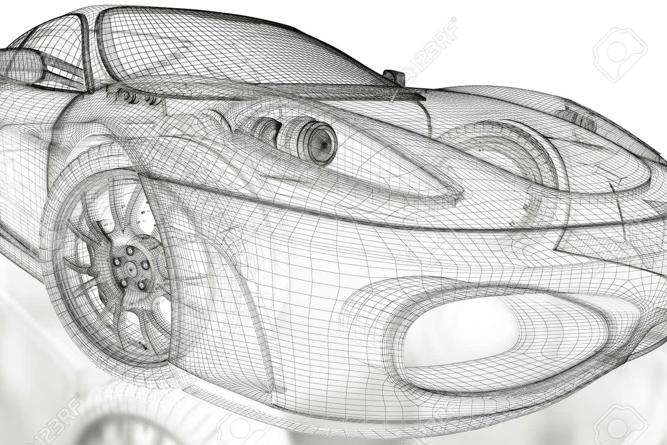 Auto Fahrzeug 3d Entwurf Mesh-Modell Auf Einem Weißen Hintergrund ...