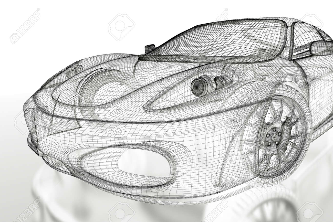 Car vehicle 3d blueprint mesh model on a white background 3d car vehicle 3d blueprint mesh model on a white background 3d rendered image stock photo malvernweather Gallery