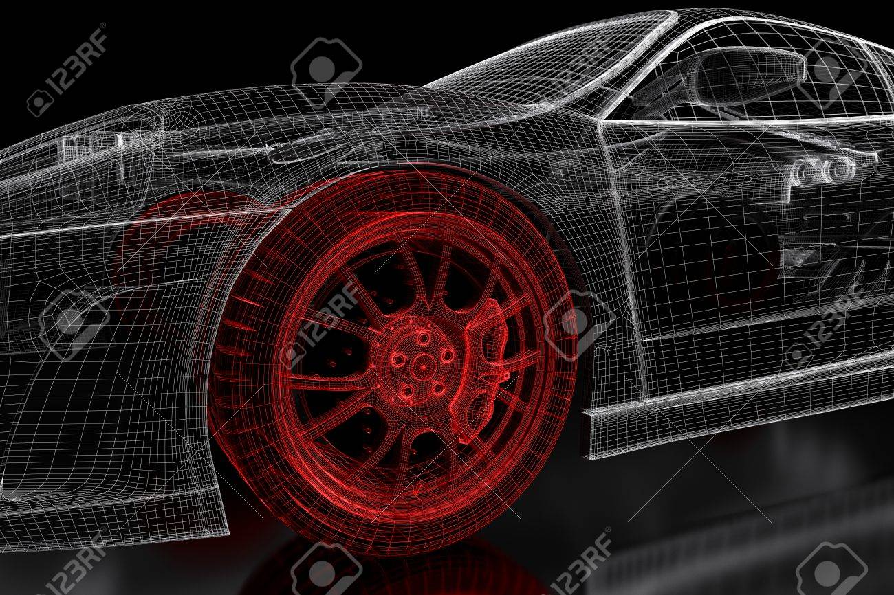 Car vehicle 3d blueprint mesh model with a red wheel tire on car vehicle 3d blueprint mesh model with a red wheel tire on a black background malvernweather Choice Image