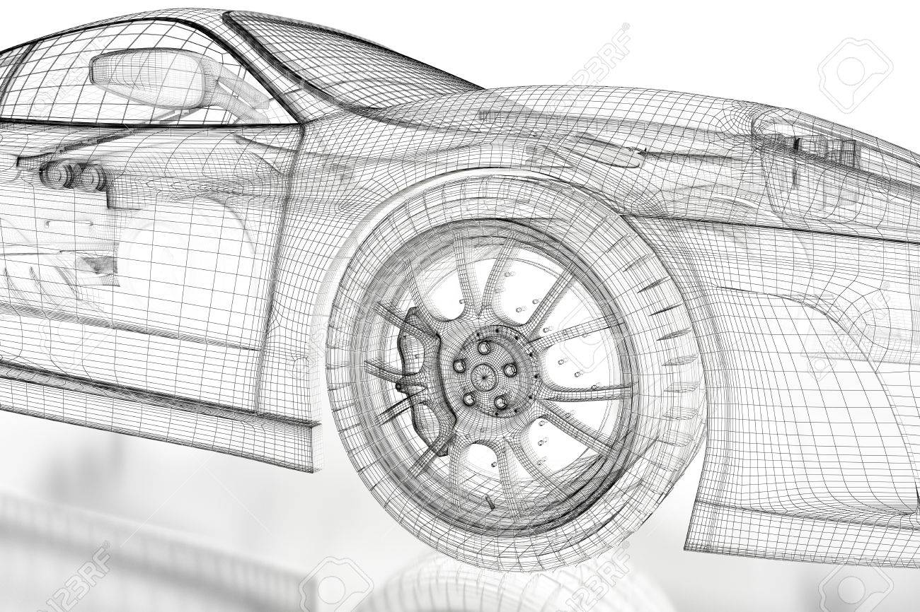 Car Vehicle 3d Blueprint Mesh Model On A White Background. 3d ...