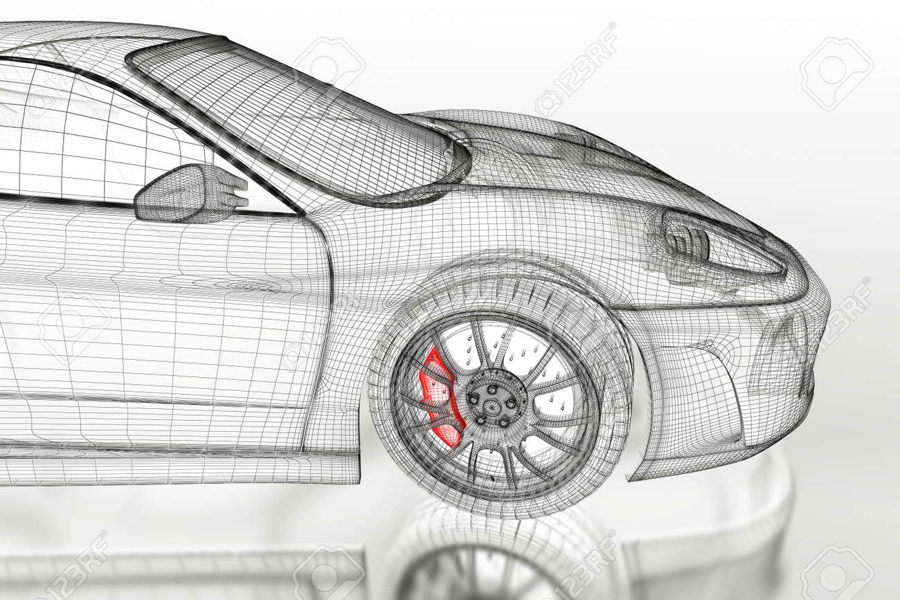 3D Sport Car Vehicle Blueprint Model With A Red Brake Caliper ...