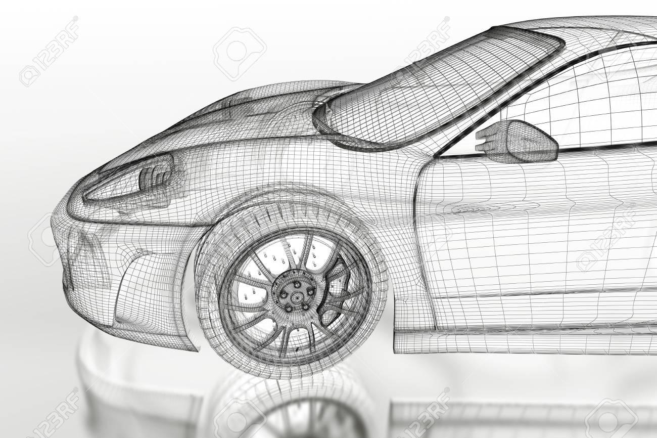 3D Sport Auto Fahrzeug Blaupause Modell Auf Einem Weißen Hintergrund ...