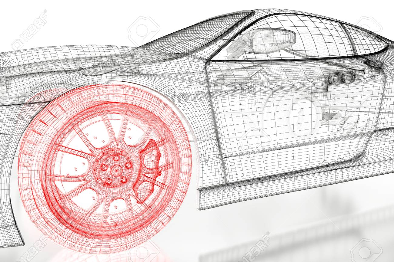 Car vehicle 3d blueprint mesh model with a red wheel tire on stock car vehicle 3d blueprint mesh model with a red wheel tire on a white background malvernweather Choice Image
