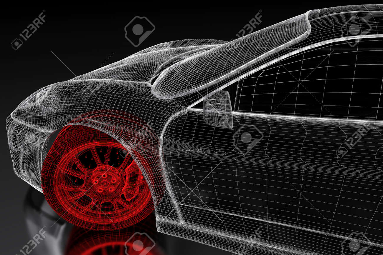 Car vehicle 3d blueprint mesh model with a red wheel tire on stock car vehicle 3d blueprint mesh model with a red wheel tire on a black background malvernweather Gallery