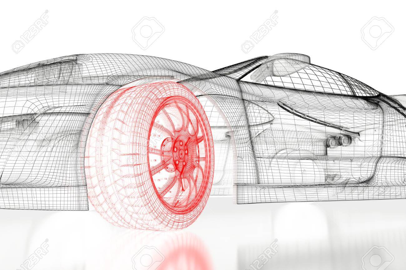 Car vehicle 3d blueprint mesh model with a red wheel tire on stock car vehicle 3d blueprint mesh model with a red wheel tire on a white background malvernweather Gallery