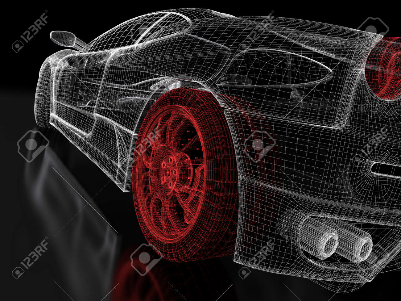 Car Vehicle 3d Blueprint Mesh Model With A Red Wheel Tire On.. Stock ...