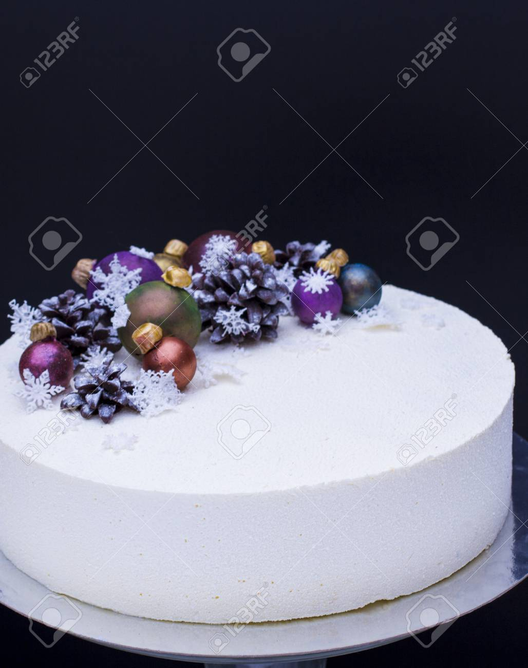 A Cake For A Christmas Holiday Or A New Year A Cake With Chocolate