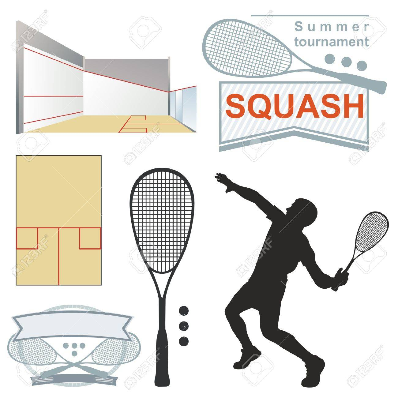 Squash , emblems, silhouette. on white background - 56220471