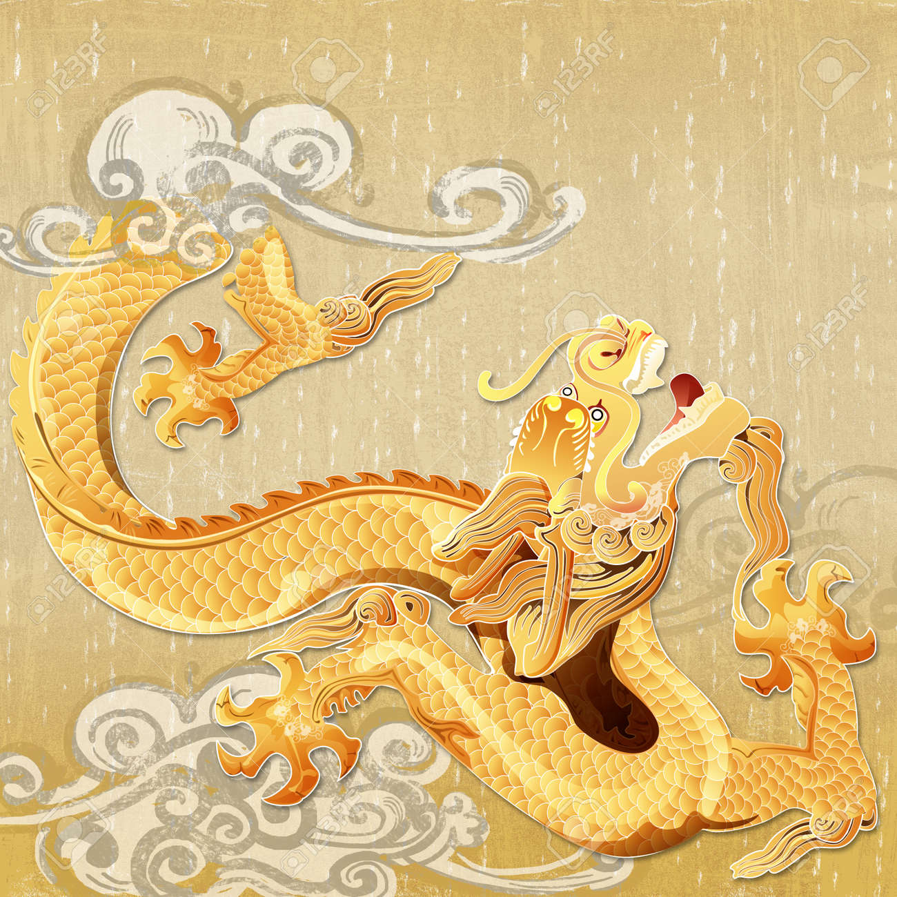 gold eastern dragon