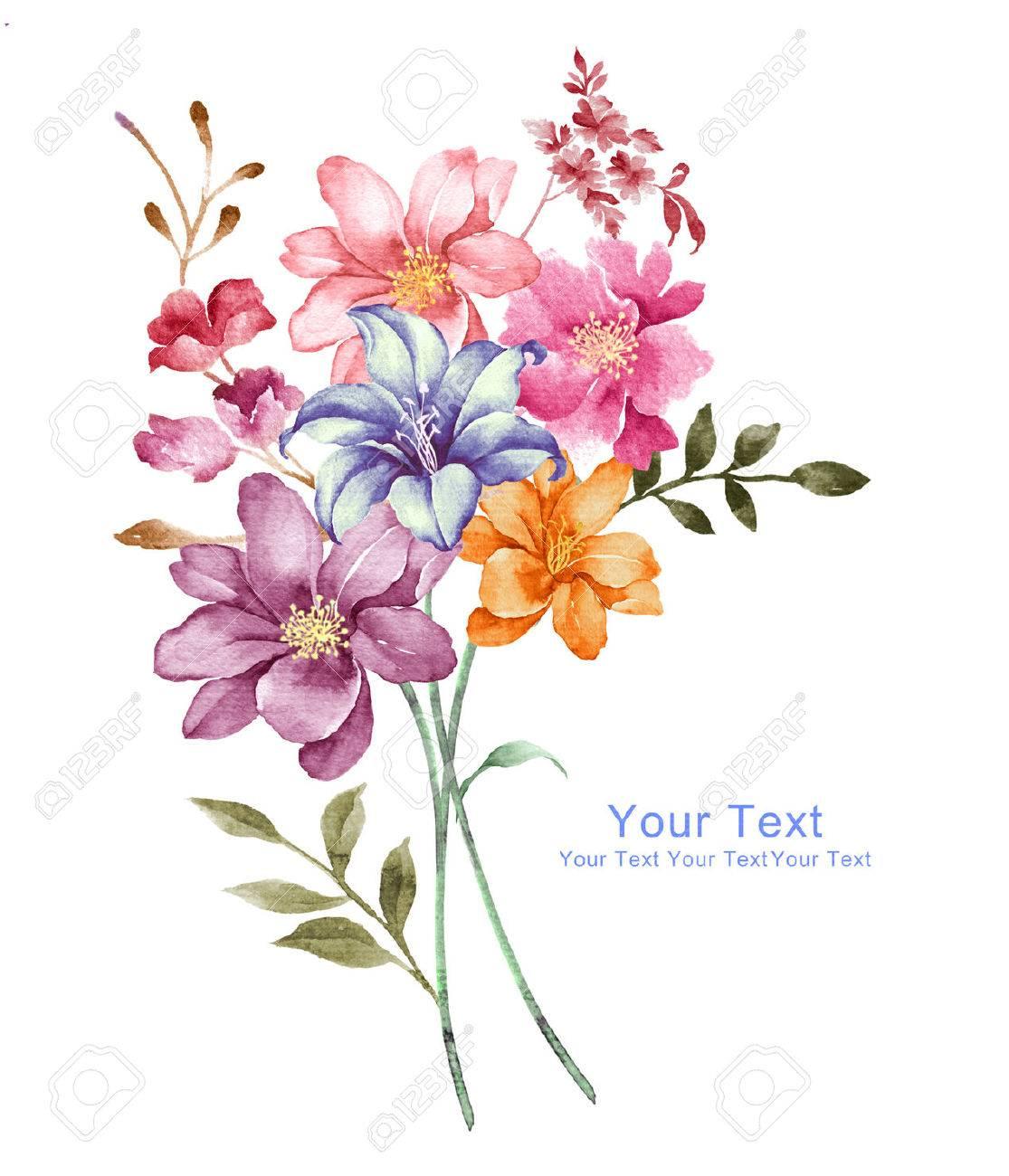 Fleurs Aquarelle D Illustration En Arriere Plan Simple Banque D