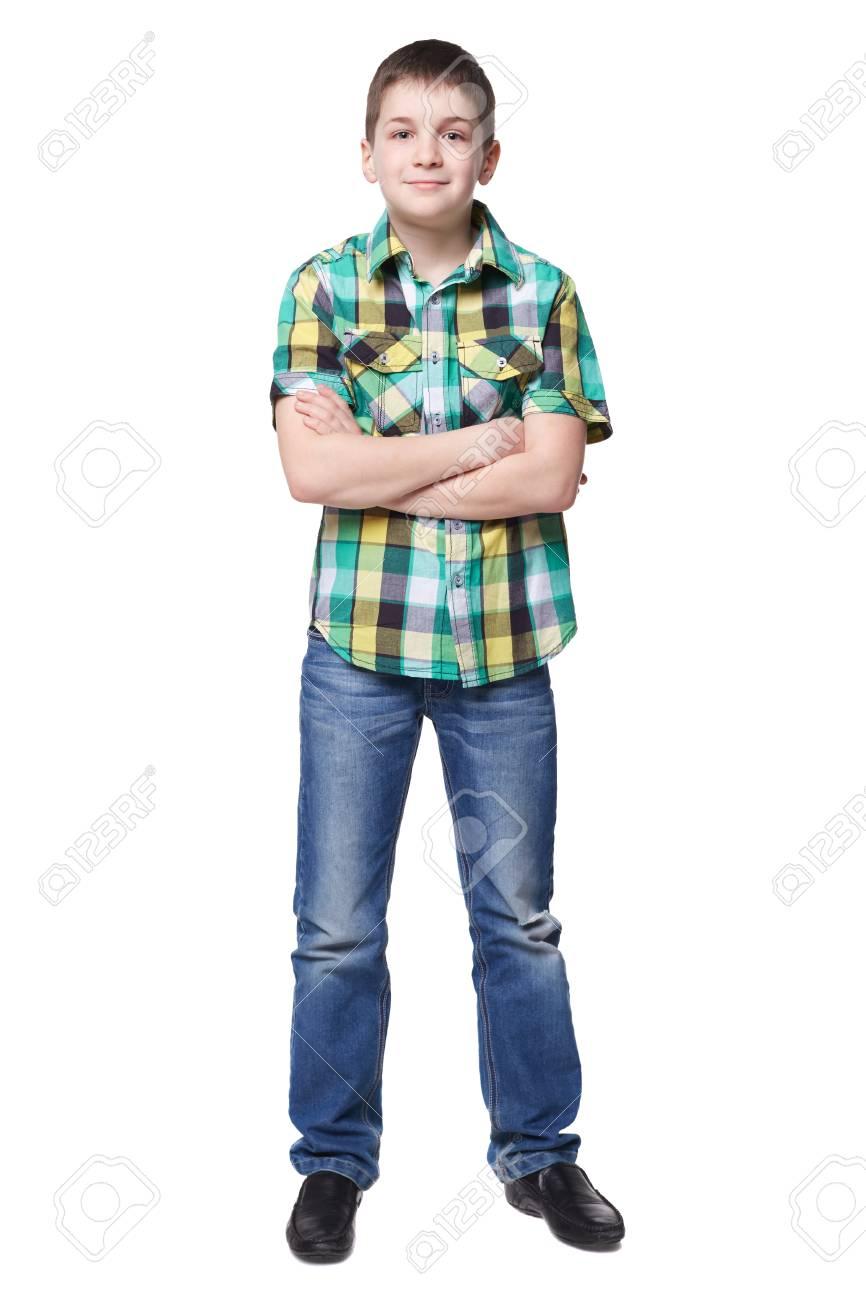 En Jonge Lengte In Overhemd Lachende Volledige Jongen Spijkerbroek eWI2bE9DHY
