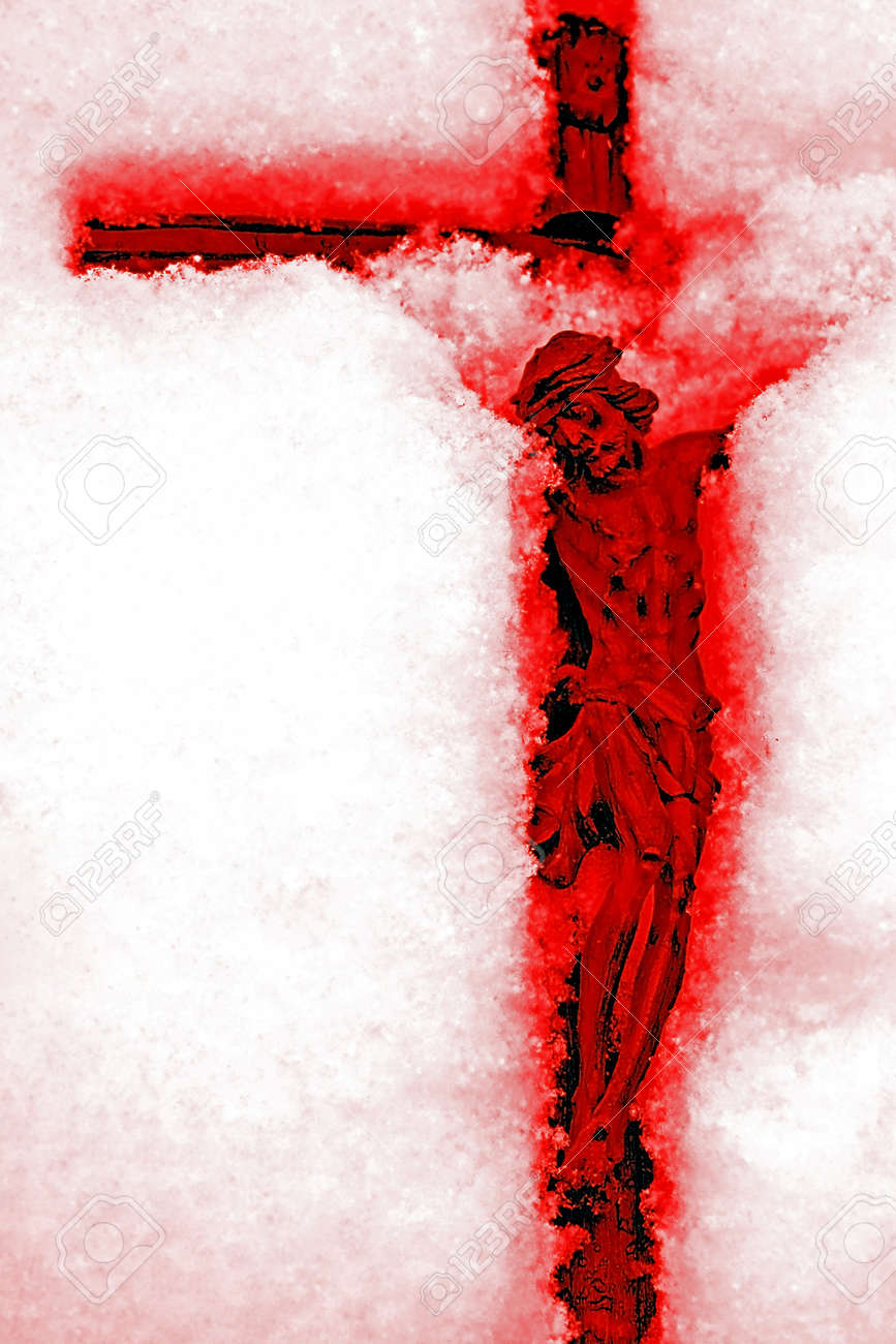 Revelation - bloody red crucifix in the snow Stock Photo - 17034491