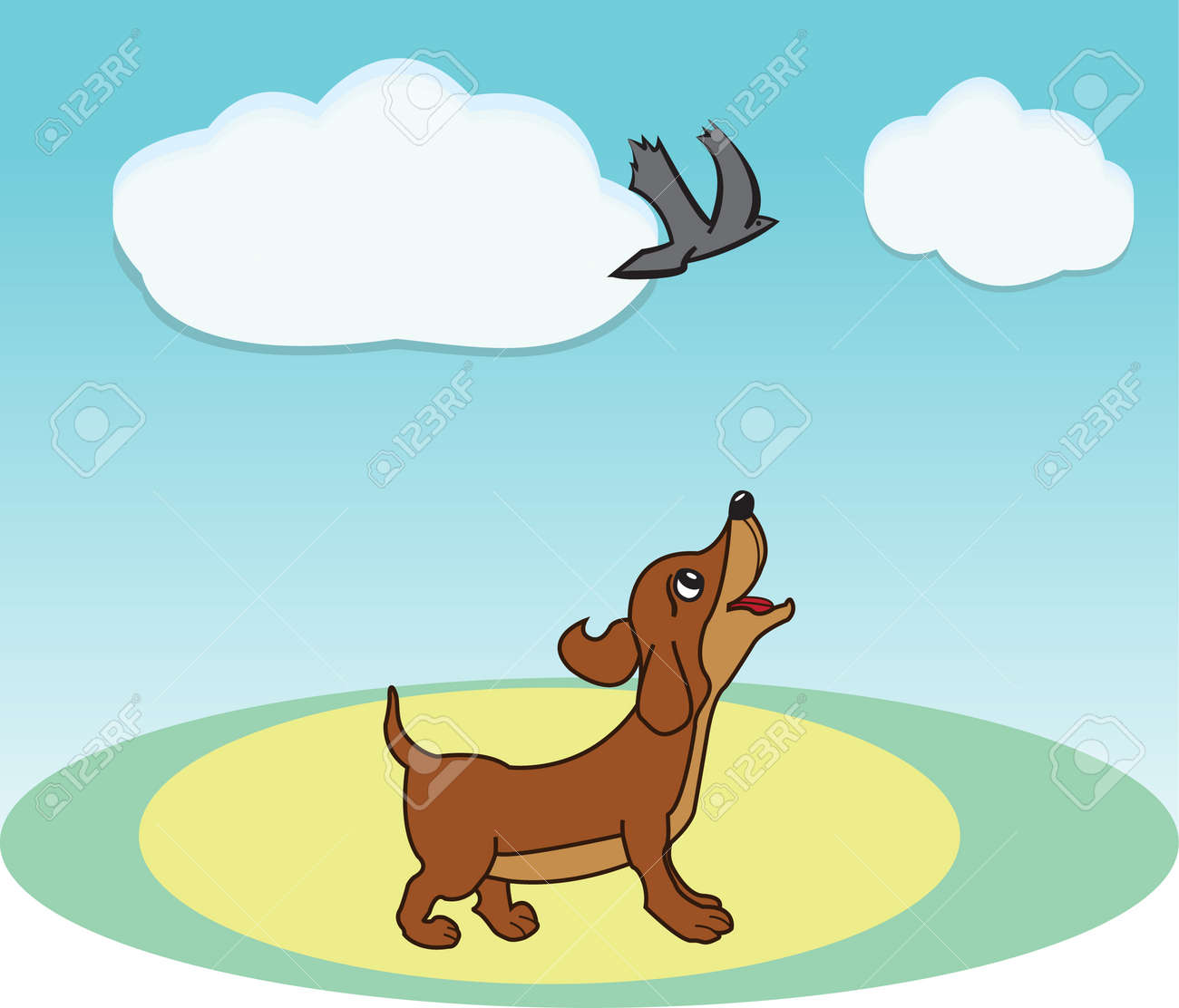 Smart brown dog watch fly bird Stock Vector - 22546615