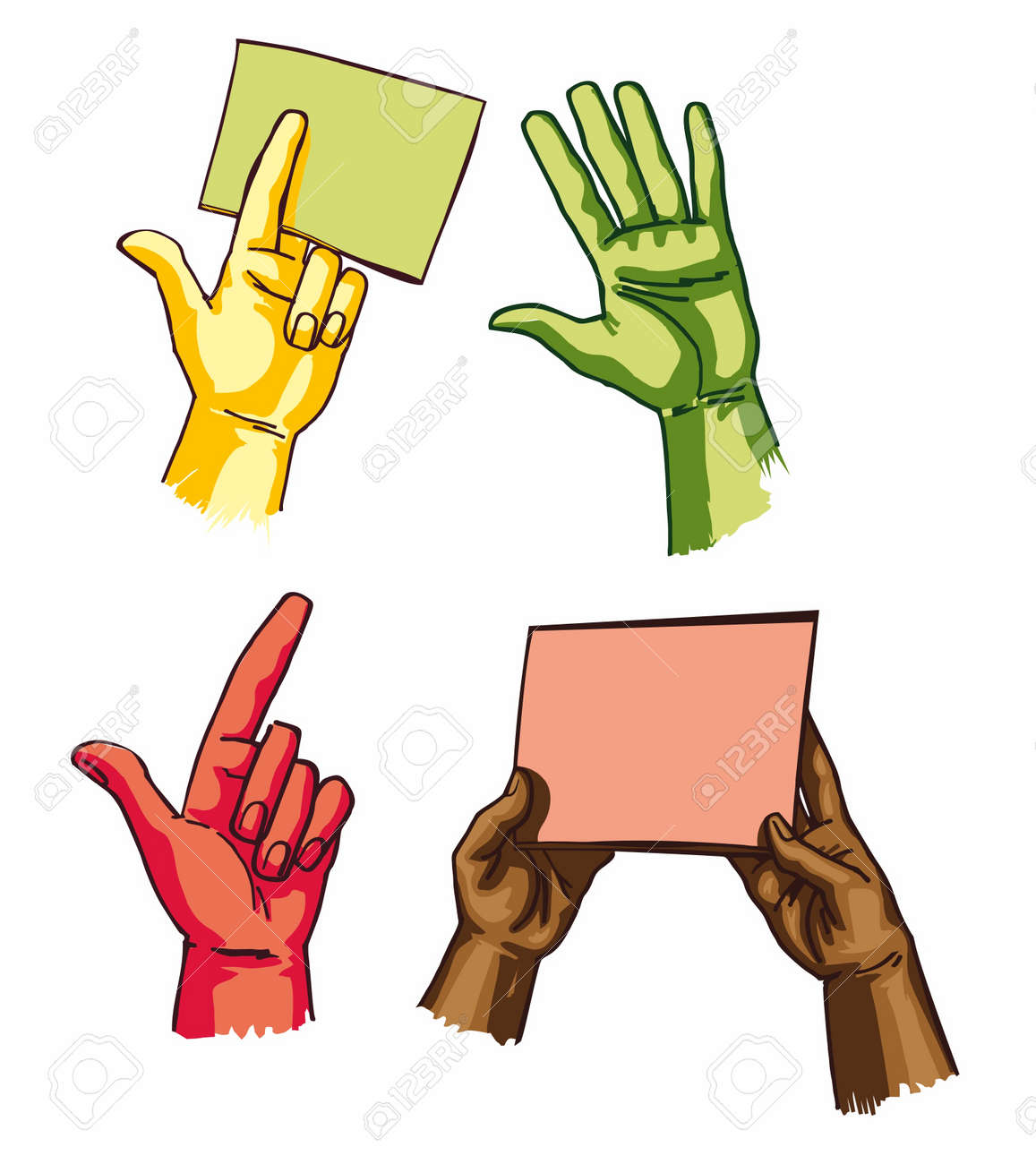 EPS vectors - hands holding the sheets and showing something Stock Vector - 9111009