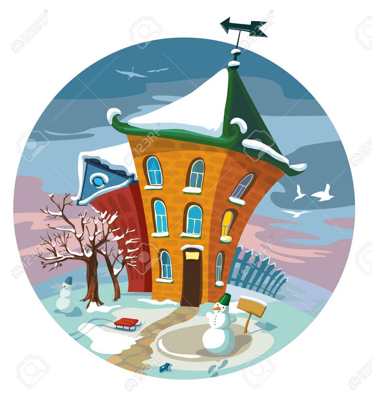 かわいい冬の小さな家 イラスト のイラスト素材 ベクタ Image