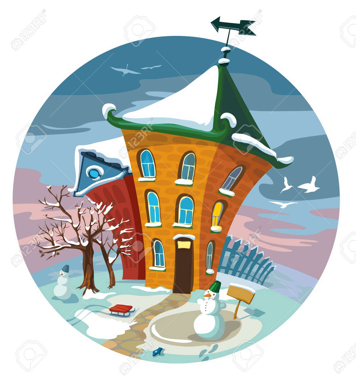 Winter Cute Häuser Little, Illustration. Standard Bild   9251481